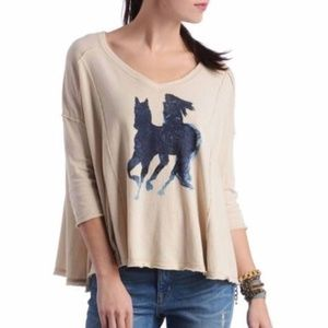 Free People We the Free Horse Rider Top Tee S